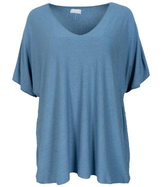Wannahavesfashion Shirt jeansblauw v hals Lilly