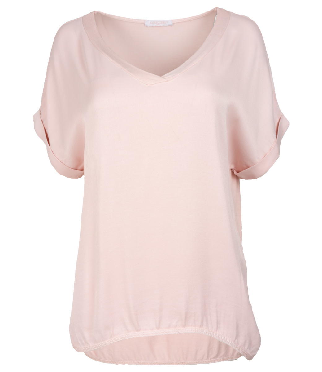 Gemma Ricceri Shirt roze silk touch v hals