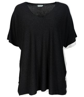 Wannahavesfashion Shirt zwart v hals Lilly