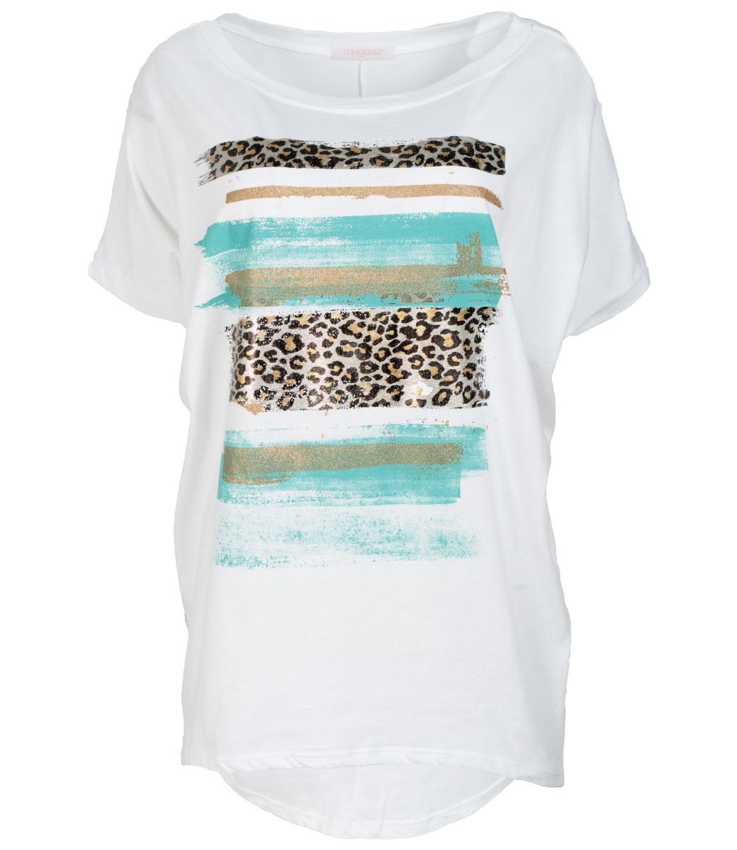Gemma Ricceri Shirt wit/turquoise Chloe