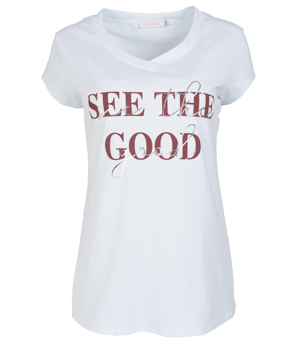 Gemma Ricceri Shirt wit/peper roze See the good