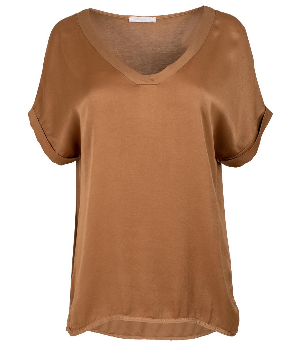 Gemma Ricceri Shirt camel silk touch v hals