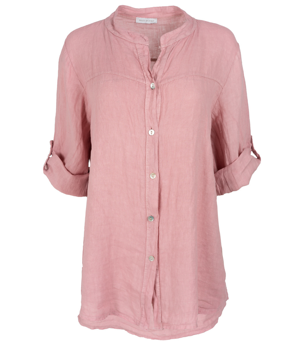 Wannahavesfashion Blouse roze linnen Rosa
