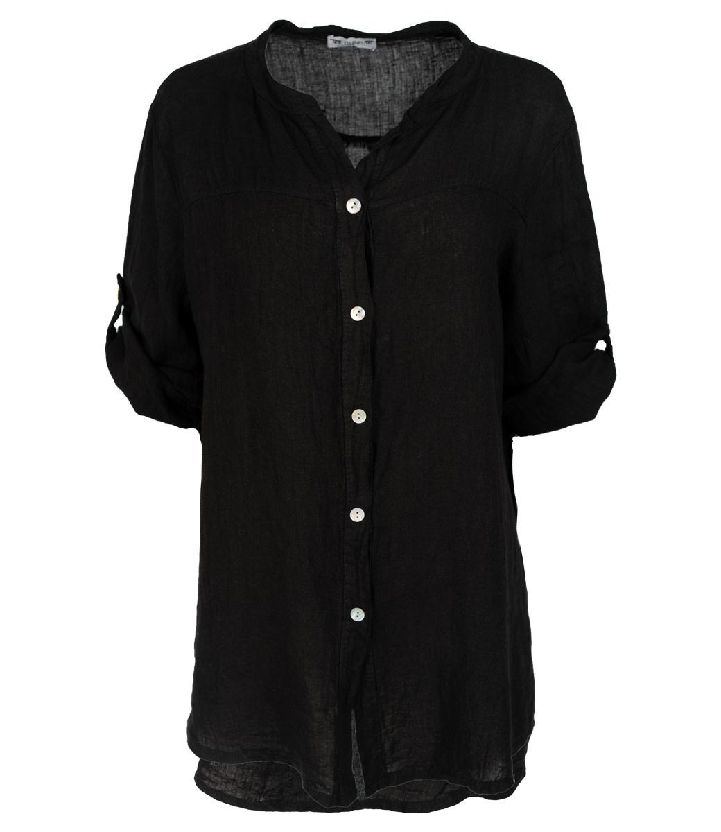 Wannahavesfashion Blouse zwart linnen Rosa