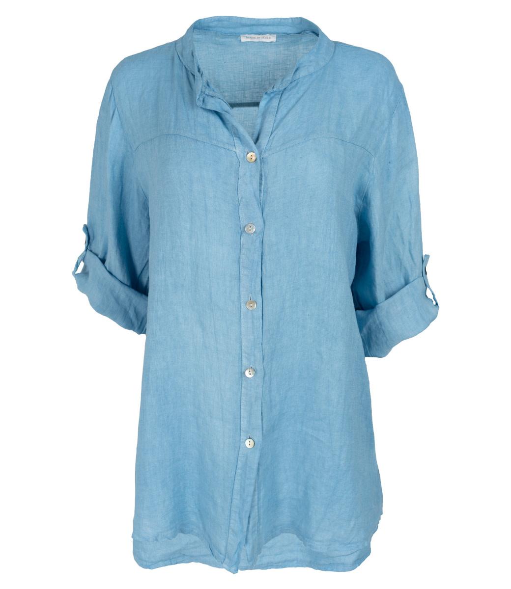 Wannahavesfashion Blouse lichtblauw linnen Rosa