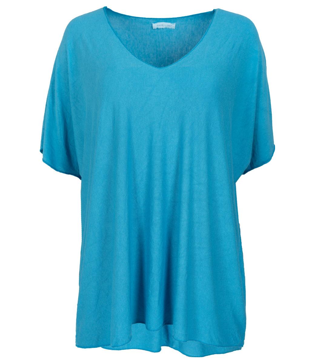 Wannahavesfashion Shirt ijsblauw v hals Lilly