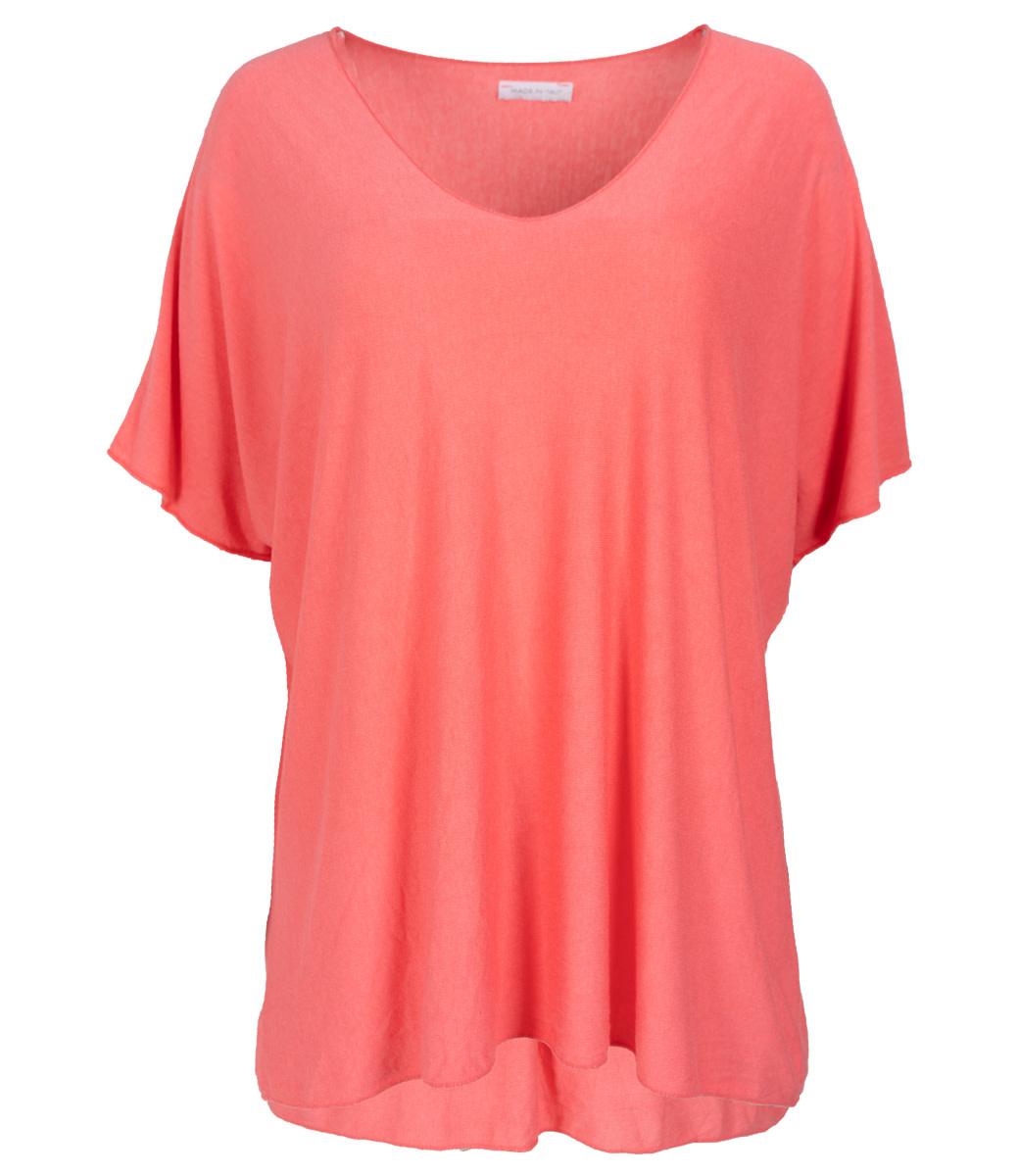 Wannahavesfashion Shirt koraal v hals Lilly