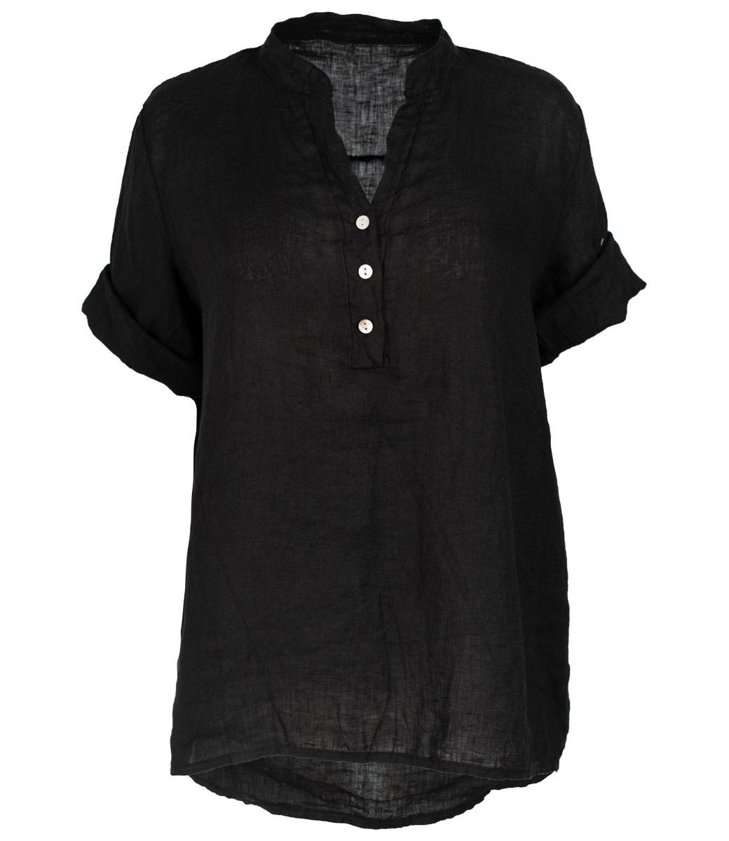 Wannahavesfashion Blouse zwart linnen Kitty