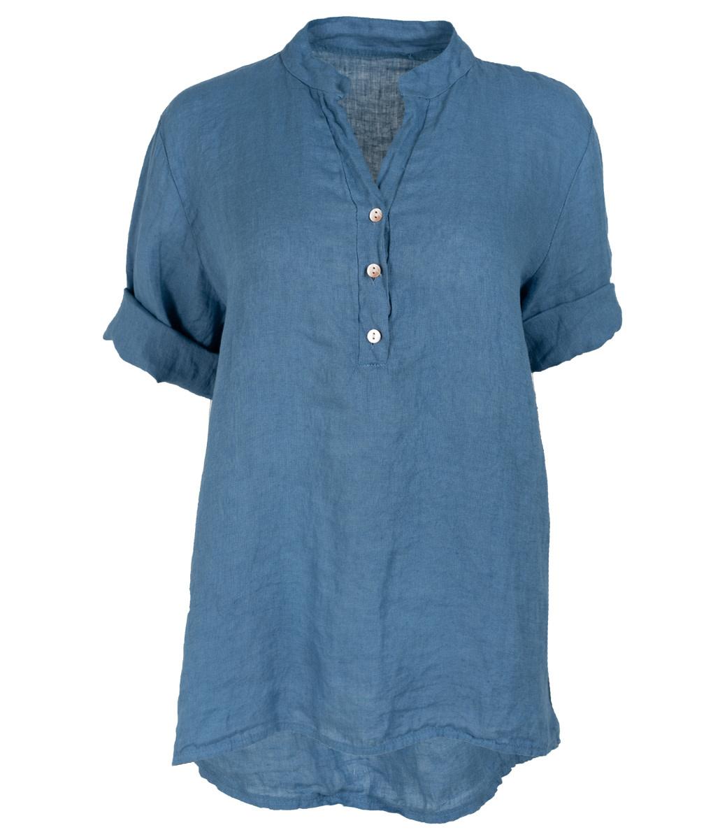 Wannahavesfashion Blouse jeansblauw linnen Kitty