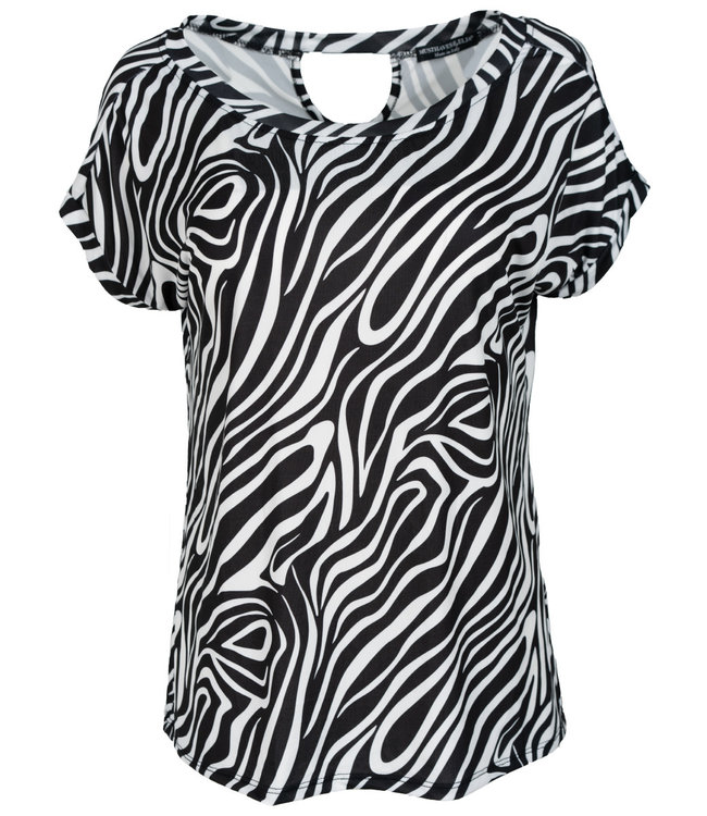 Wannahavesfashion Shirt zwart/wit zebra Macy