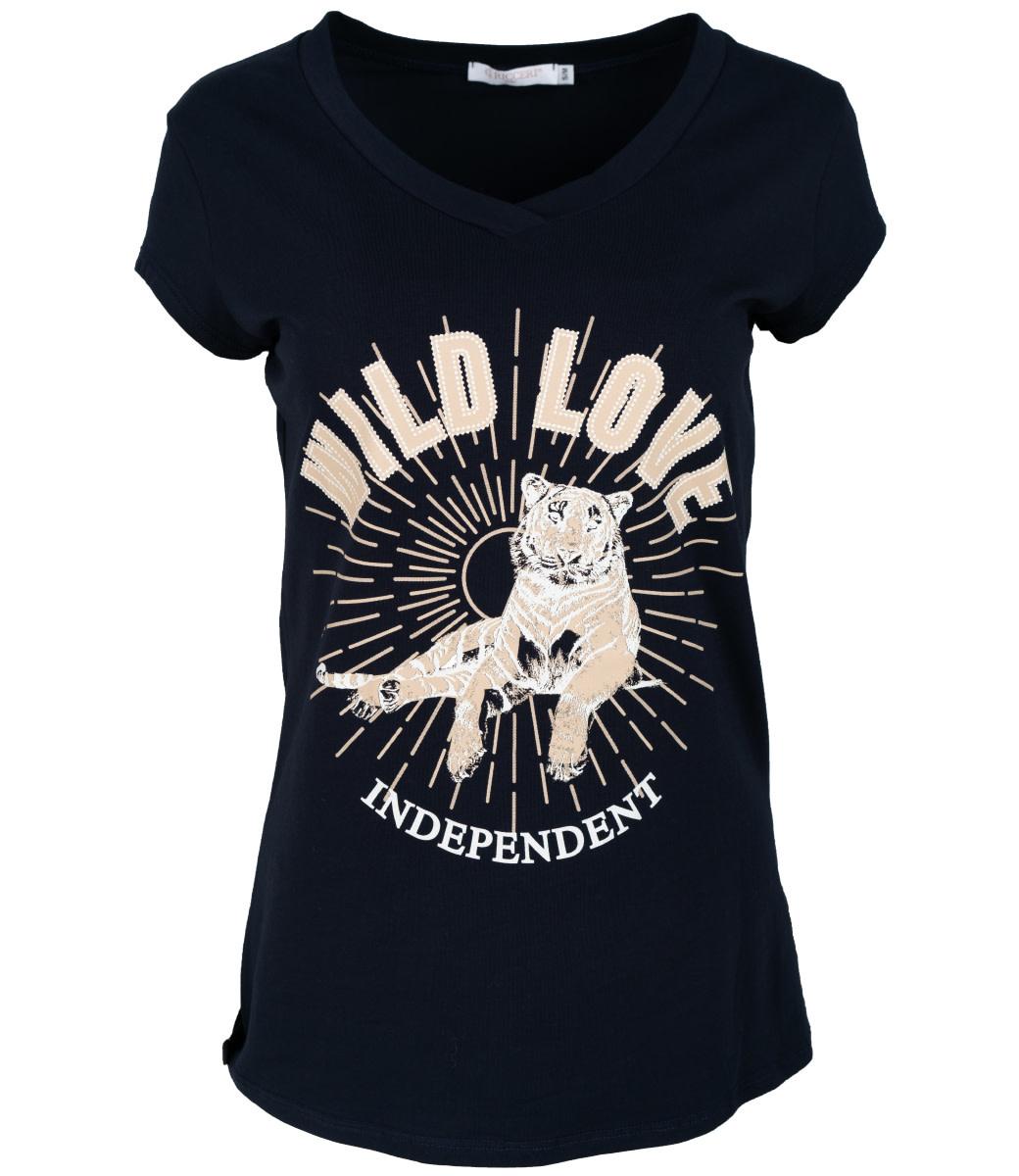 Gemma Ricceri Shirt donkerblauw wild love