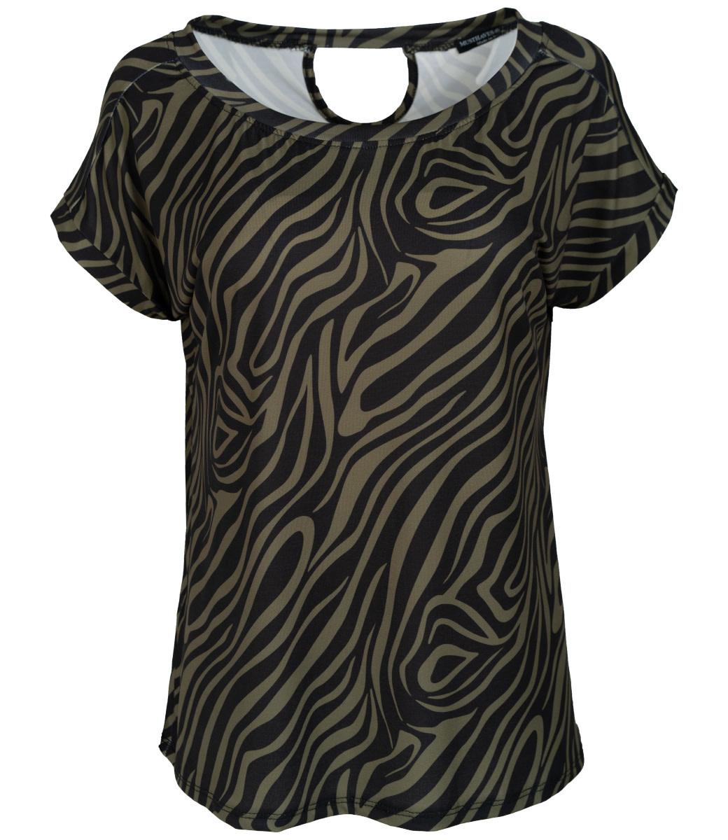 Wannahavesfashion Shirt zwart/groen zebra Macy
