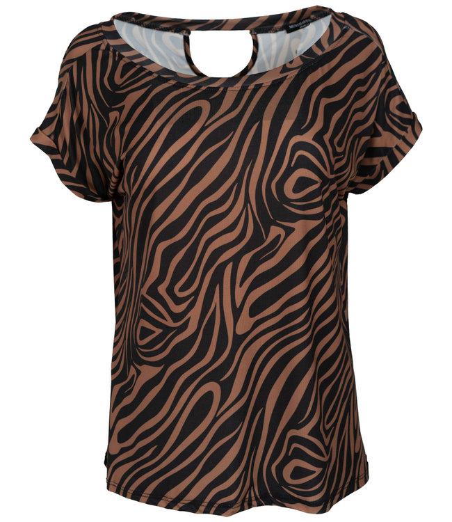 Wannahavesfashion Shirt zwart/camel zebra Macy
