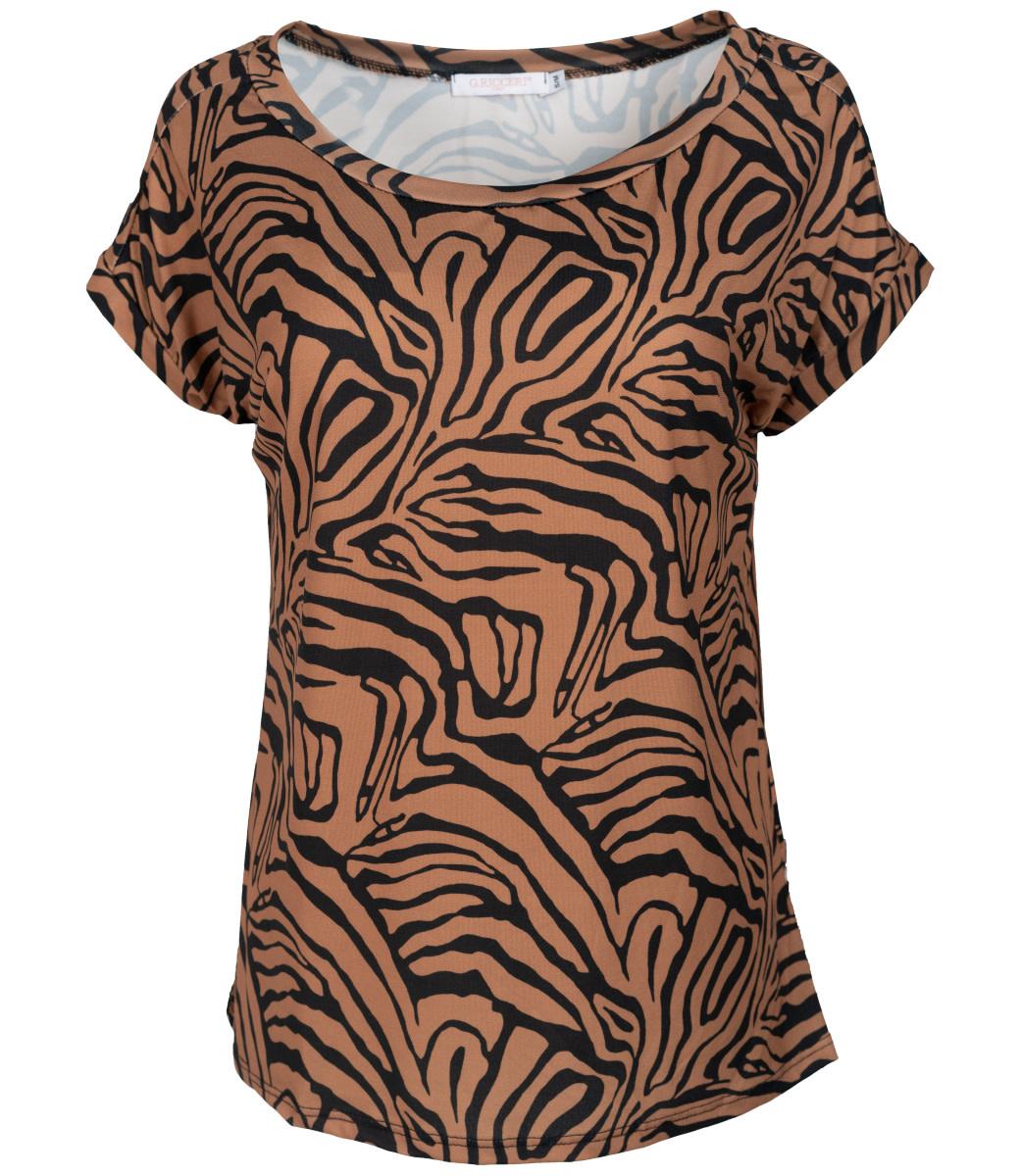 Gemma Ricceri Shirt zwart/camel print Nina