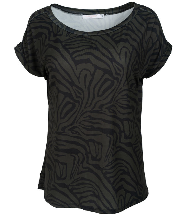 Gemma Ricceri Shirt zwart/groen print Nina