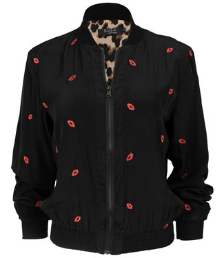 Rebelz Collection Bomber jacket zwart/rood Kiss
