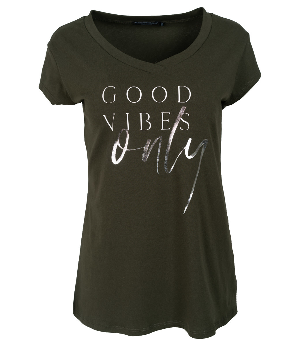 Wannahavesfashion Shirt groen/wit Good vibes