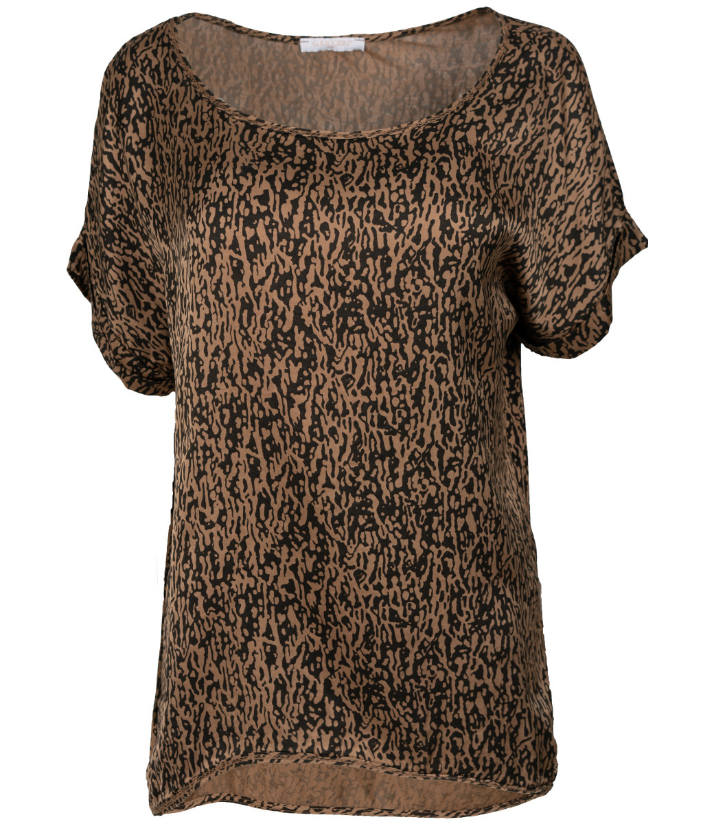 Gemma Ricceri Shirt camel print Silk touch
