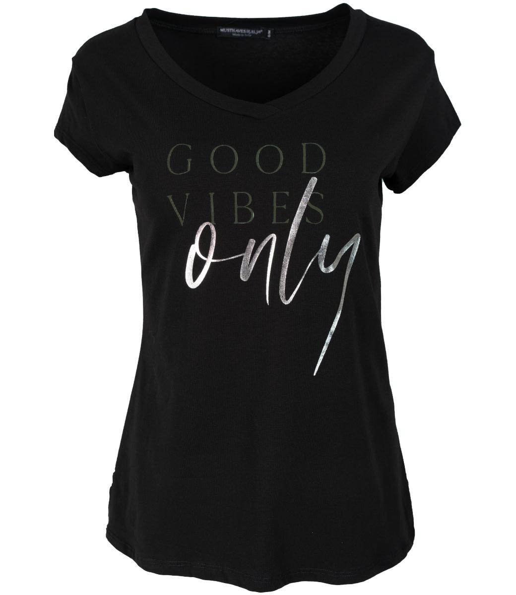 Wannahavesfashion Shirt zwart/groen good vibes only