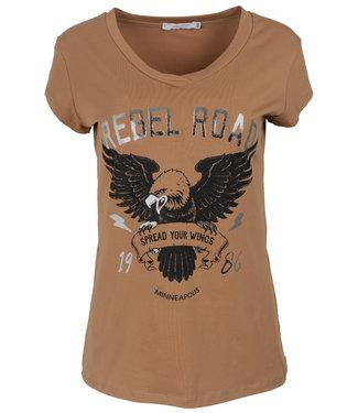 Gemma Ricceri Shirt Camel/zwart rebel road