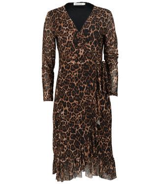 Azzurro Jurk midi zwart/bruin leopard overslag Lia