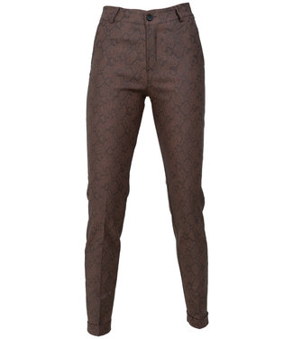 Gemma Ricceri Pantalon camel leather look snake print