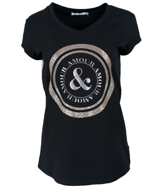 Gemma Ricceri Shirt zwart/camel Cindy
