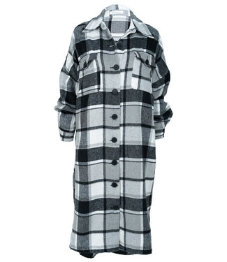 Azzurro Blouse jas zwart/grijs ruit Babs