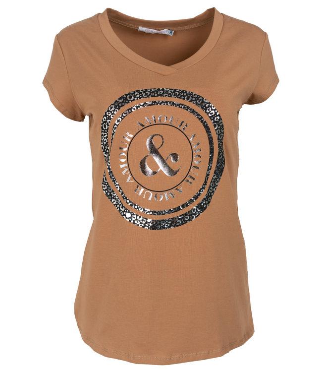 Gemma Ricceri Shirt camel/zwart Cindy