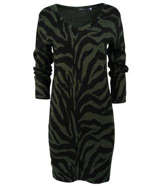 Gemma Ricceri Jurk groen/zwart zebraprint