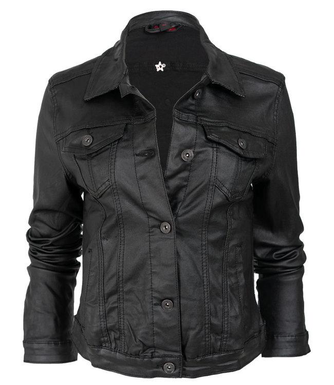 place du Jour Jas leather look zwart Judy