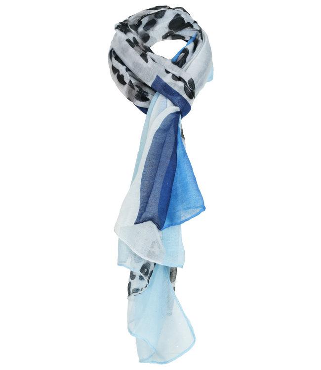 Wannahavesfashion Sjaal blauw panterprint Gemma