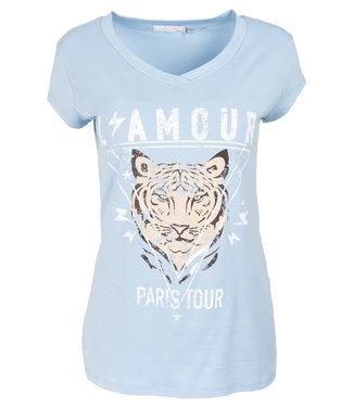 Gemma Ricceri Shirt lichtblauw/beige Tijger