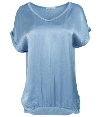 Azzurro Shirt lichtblauw v hals Anna