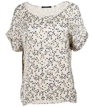 Gemma Ricceri Shirt silk touch beige print