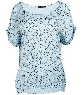 Gemma Ricceri Shirt silk touch lichtblauw print