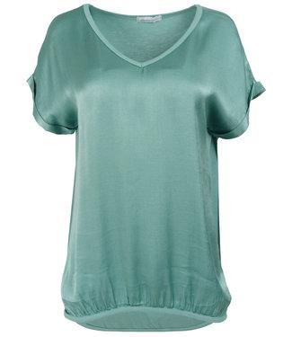 Azzurro Shirt zeegroen v hals Anna