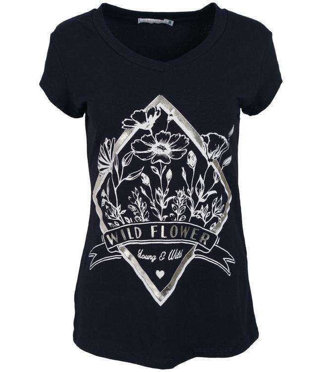 Gemma Ricceri Shirt donkerblauw/wit Wild flower