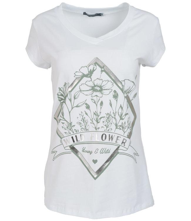 Gemma Ricceri Shirt wit/mintgroenWild flower