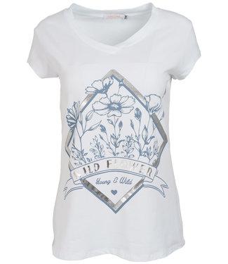 Gemma Ricceri Shirt wit/lichtblauw Wild flower