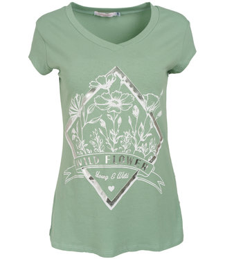 Gemma Ricceri Shirt mintgroen/wit Wild flower