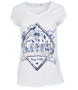 Gemma Ricceri Shirt wit/donkerblauw Wild flower