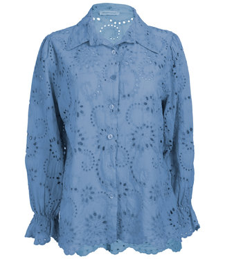 Azzurro Blouse jeansblauw brodery Do