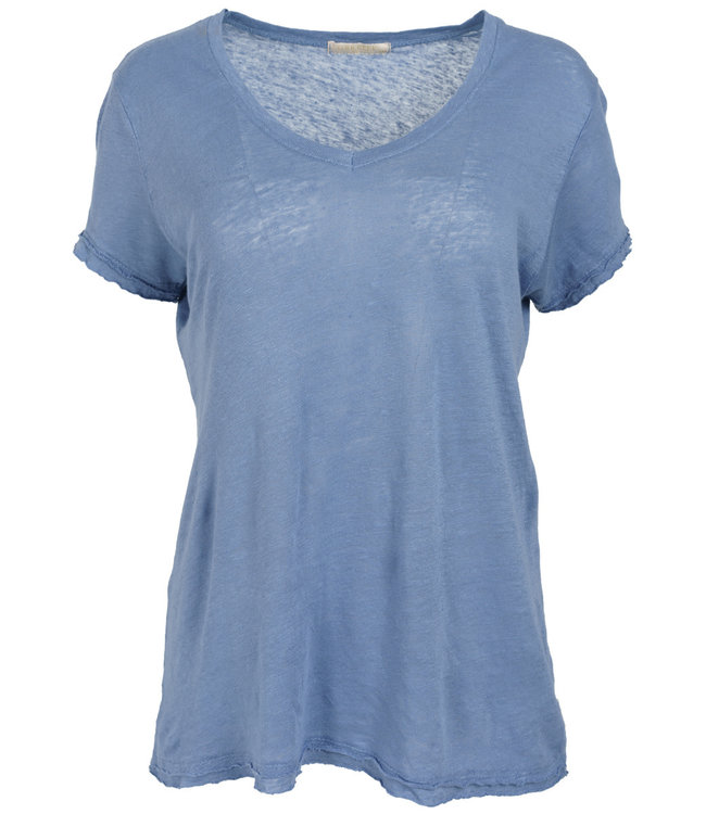 Gemma Ricceri Shirt jeansblauw linnen Frenske