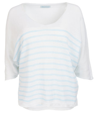 Azzurro Trui wit/lichtblauw streep Yfke