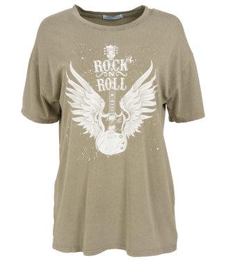 Azzurro Shirt groen/wit Rock roll