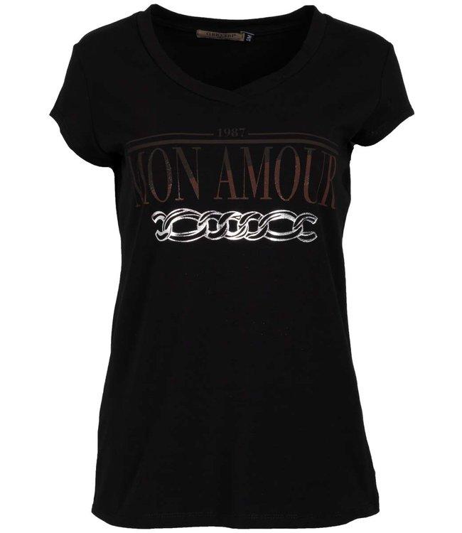 Gemma Ricceri Shirt zwart/roestbruin Mon amour