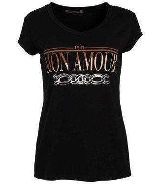 Gemma Ricceri Shirt zwart/camel Mon amour
