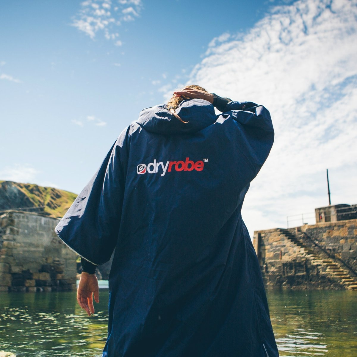 DryRobes dryrobe Advance Short Sleeve Navy Grey