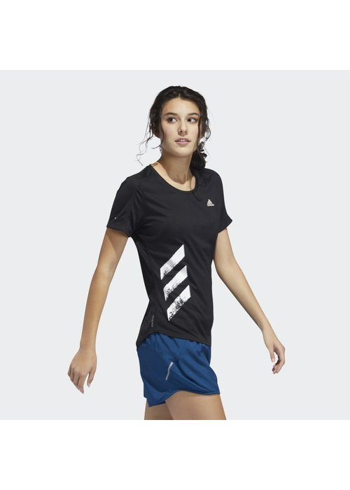 adidas adidas Women's Run It 3 Stripes Fast Tee